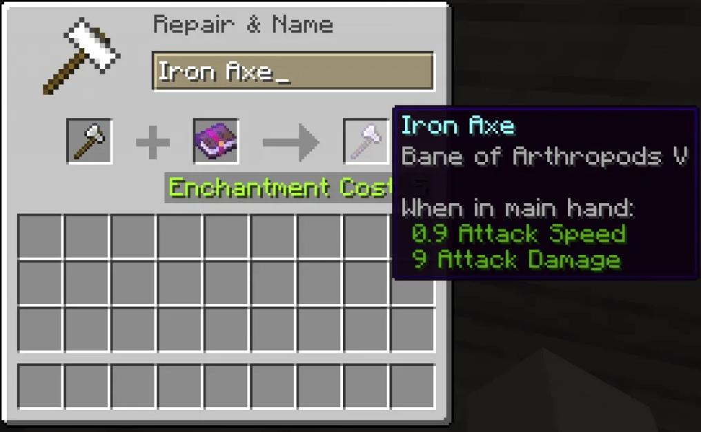 Anvil Enchantments on Iron Axe